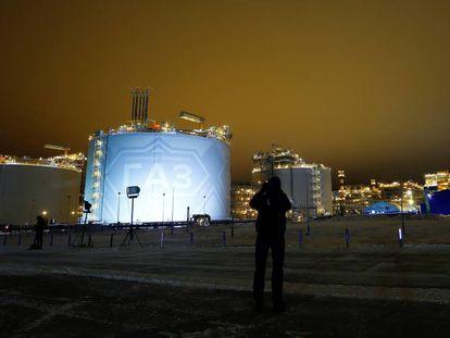 Usina de gás do projeto Yamal LNG na península de Yamal, noroeste da Sibéria (Rússia).