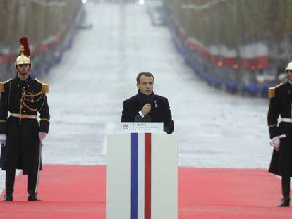 O presidente francês, Emmanuel Macron, durante o centenário do fim da Primeira Guerra Mundial em Paris o 11 de novembro de 2018.