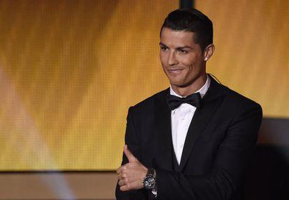 Cristiano Ronaldo, na cerimônia de entrega do prêmio.