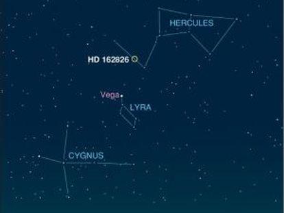 Localização no céu da estrela HD 162826, irmã do Sol.