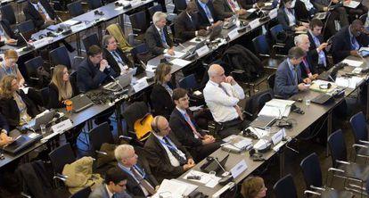 Delegados durante as sessões do IPCC, em Copenhague neste fim de semana.