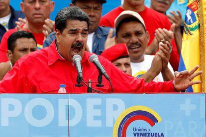 Nicolás Maduro em um ato político em Caracas.