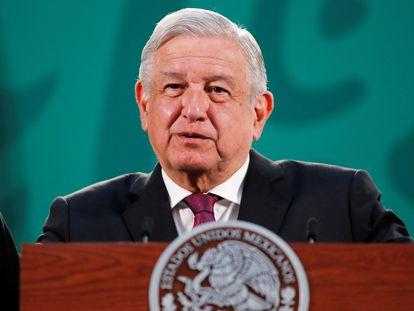 O presidente do México, Andrés Manuel López Obrador, durante uma entrevista coletiva matutina nesta semana.