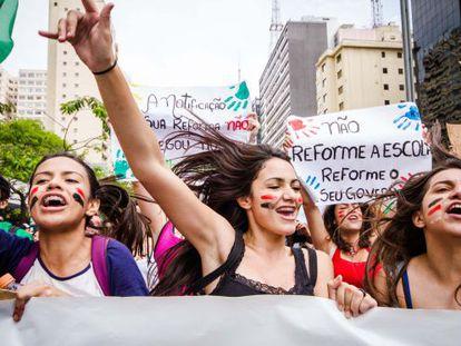 Estudantes em protesto na semana passada em SP.