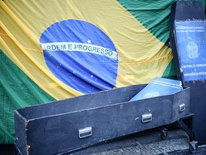 Protesto contra a terceirização no Rio de Janeiro.