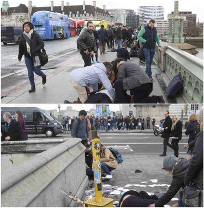 Duas fotografias de Toby Melville (Reuters) publicadas nesta quarta-feira pelo EL PAÍS, nas quais também se veem transeuntes passando pelo lado, mas que nem por isso foram acusados de nada (o que é o normal).