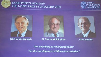 A tela da Academia Sueca amostra aos ganhadores do Nobel de Química.