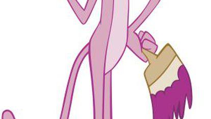 Um desenho da Pantera cor-de-rosa, personagem legendário da animação.