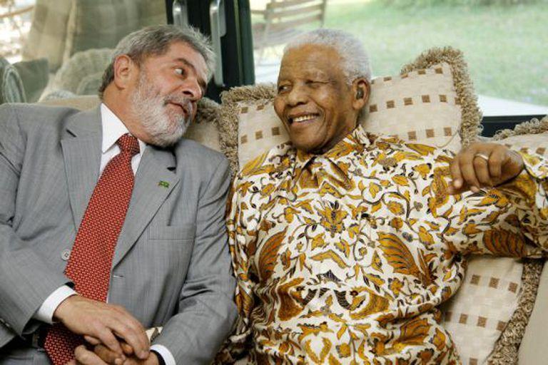 Lula da Silva e Nelson Mandela em 2008.