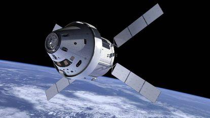 Ilustração da nave Orion no espaço.