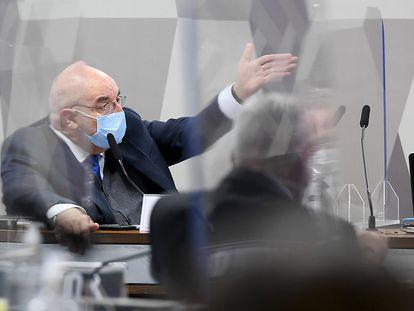 O ex-ministro da Cidadania, deputado Osmar Terra (MDB-RS) em depoimento na CPI da Pandemia, no Senado, nesta terça.