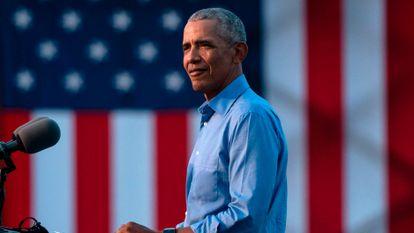O ex-presidente Barack Obama em comício nesta quarta-feira em Filadélfia.