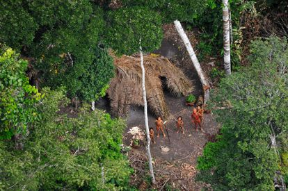 Povo indígena isolado avistado na Amazônia brasileira.