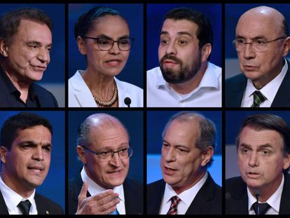 Composição com as fotos dos candidatos presidenciais.