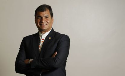 O presidente do Equador, Rafael Correa, depois da entrevista em Madri na quinta-feira passada.