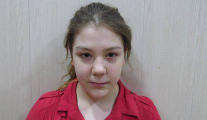 A jovem sueca, depois de sua libertação.