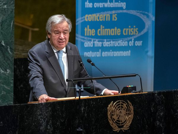 In this photo provided by the United Nations, U.N. Secretary General Antonio Guterres speaks in the General Assembly in observance of the International Day of Peace, celebrating 75 Years of the United Nations, at UN headquarters, Monday, Sept. 21, 2020. (Eskinder Debebe/United Nations via AP)