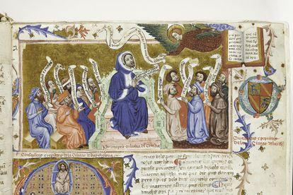 Imagem de um manuscrito medieval na exposição 'A Luz da Idade Média', na Biblioteca Nacional da Espanha.