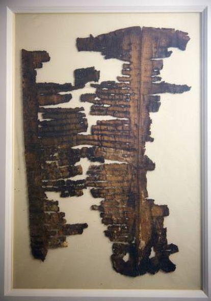 Fragmento do 'Gênesis apócrifo', que pode ser visto pela primeira vez desde sua descoberta em 1947 no Santuário do Livro de Jerusalém.