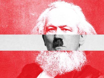 Arte que mistura os rostos de Hitler e Karl Marx.