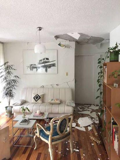 A sala de Ana Carolina Sánchez depois do tremor