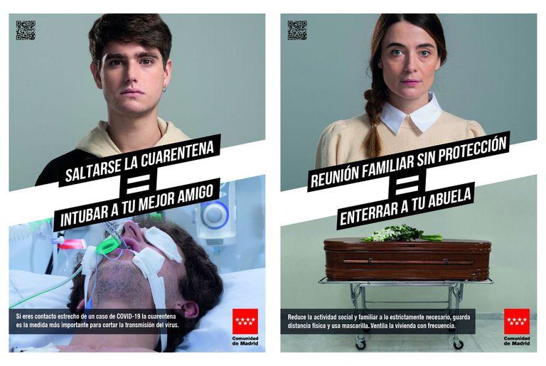 """Dois dos cartazes da nova campanha de conscientização do Governo regional de Madri. Nos cartazes, """"Pular a quarenta = intubar seu melhor amigo"""" e """"Reunião familiar sem proteção = enterrar sua avó""""."""