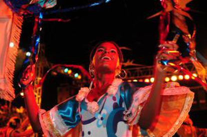 Participante da festa folclórica de Cuiabá.
