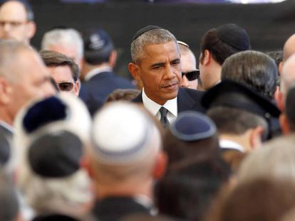 Obama, no funeral de Peres.