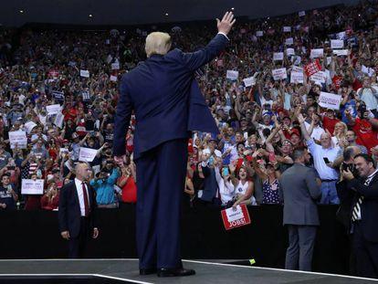 O presidente dos EUA, Donald Trump, em um ato de campanha em 1 de agosto, em Cincinnati.