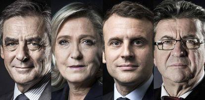 Fillon, Le Pen, Macron e Mélenchon: os favoritos nas eleições francesas.