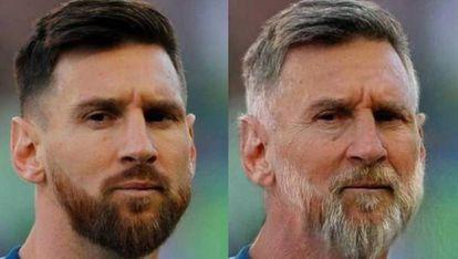 Imagem do jogador Leo Messi depois da aplicação do filtro de envelhecimento de FaceApp.
