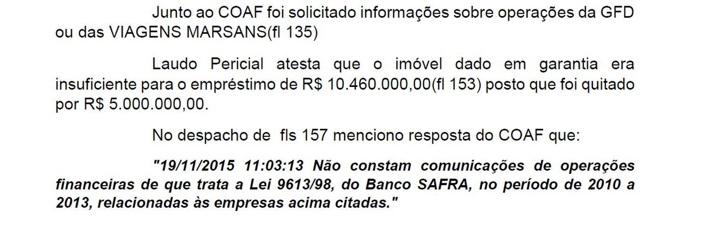 Trecho do relatório final do inquérito sobre o banco Safra com destaque para a ausência de comunicação do banco ao COAF.