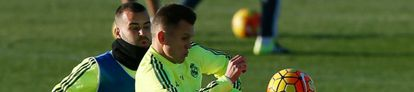 Jesé e Cheryshev durante treino do Real Madrid