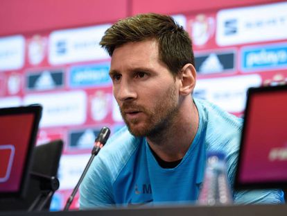 Messi durante entrevista coletiva.