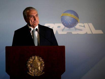 O presidente Michel Temer durante pronunciamento à imprensa no dia 18 de maio, em Brasília.