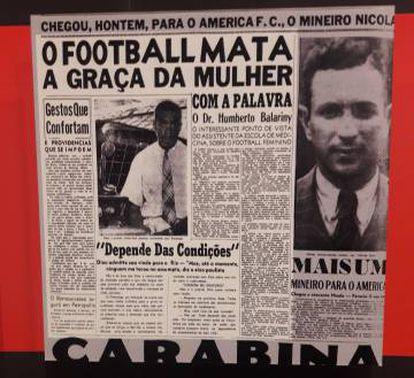 """Recorte do jornal carioca """"O Imparcial"""", em 16 de janeiro de 1941, exposto no Museu."""