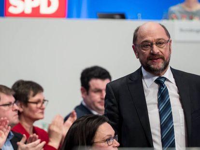 Martin Schulz, líder do SPD, no congresso federal do partido, neste domingo