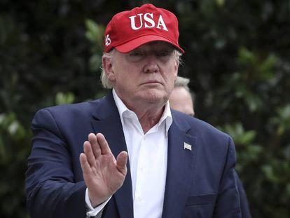 Donald Trump, na tarde desta sexta-feira, nos jardins da Casa Branca