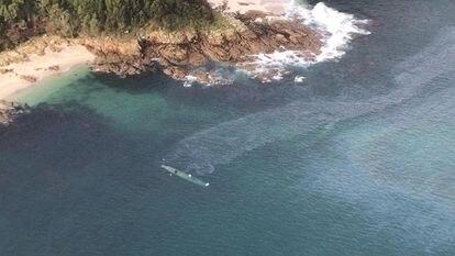 Imagem aérea do submarino localizado no litoral da Galícia.