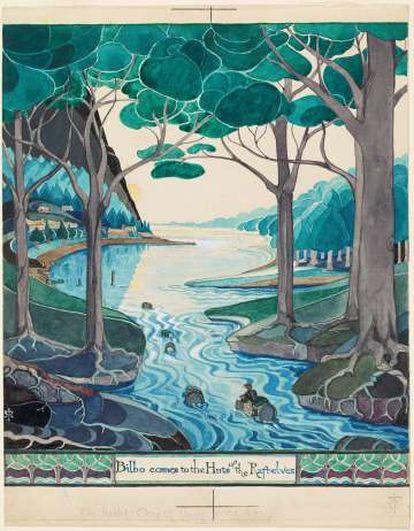 Aquarela de Tolkien para a primeira edição de 'O Hobbit'' (1973).