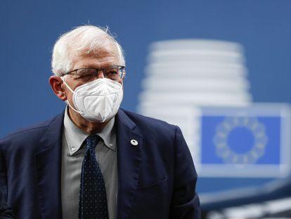 Josep Borrell, na cúpula europeia de Bruxelas na sexta-feira.