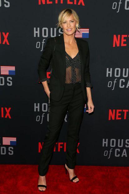 Robin Wright na estreia da 6ª temporada de 'House of Cards' em Los Angeles (2018).