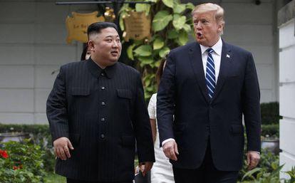 Kim Jong Un e Donald Trump, no último encontro de Hanói.