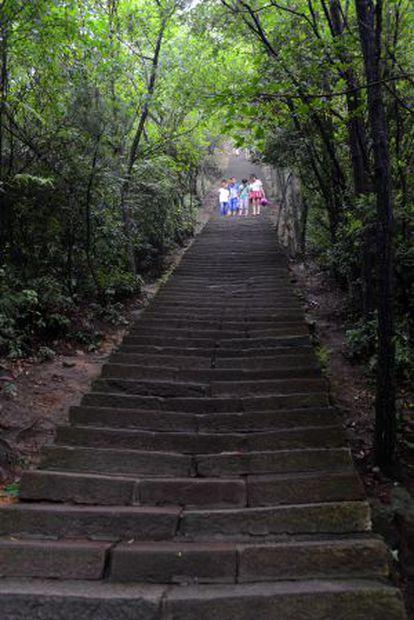 As escadas que levam ao mirante de Yuanjiajie.