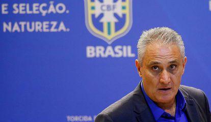 Tite durante convocação da seleção brasileira em 2018.