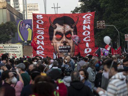 Manifestantes protestam contra Bolsonaro em São Paulo, no dia 3 de julho de 2021.