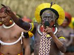 """(FILES) In this file photo taken on January 17, 2020 indigenous leader Cacique Raoni Metuktire of the Kayapo tribe, addresses members from different Brazilian tribes, in Piaracu village, near Sao Jose do Xingu, Mato Grosso state, Brazil. - Cacique Raoni Metuktire, emblematic figure of the indigenous resistance in Brazil, was hospitalized  this week with a dehydration picture, but was negative for COVID-19 and is """"stable"""", reported on July 18 the French NGO Planete Amazone. (Photo by CARL DE SOUZA / AFP)"""