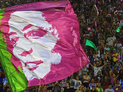 Bandeira com o rosto de Marielle Franco, no dia 5 de março.
