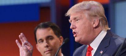 Donald Trump fala no primeiro debate entre os candidatos às primárias republicanas nos EUA.