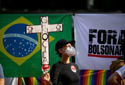 Manifestante em protesto com Bolsonaro em São Paulo, no último dia 3.